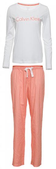 Calvin Klein dámské pyžamo QS6350E L/S Pant Set L lososová