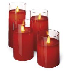 Emos Cand Flicker dekoracija sveča, steklena, rdeča, Vintage, 4 kosi