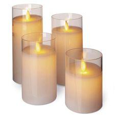 Emos Cand Flick dekoracija, sveča, steklena, LED, Vintage, 4 kosi