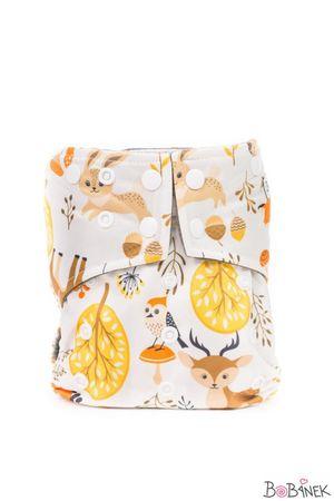 Bobánek AIO plenice Premium z zapenjanjem na gumbe, motiv gozdnih živali