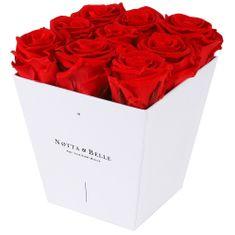 Notta & Belle Červená kytice «Forever» v bílé krabičce - 9 ks