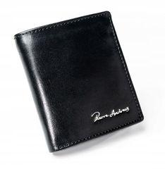 Pierre Andreus Pánská prošívaná kožená peněženka Pablos, černá bez přezky