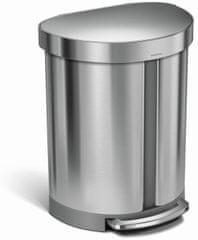 Simplehuman Pedálový odpadkový kôš na triedený odpad - 55 l, polguľatý, leštená nerez