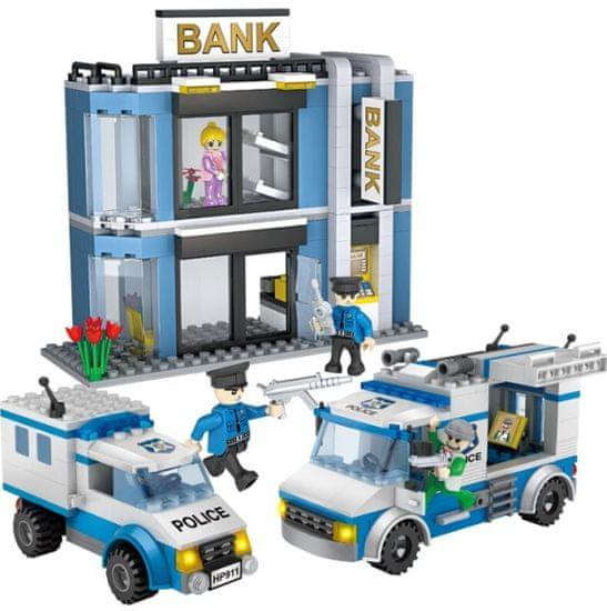 Cogo stavebnice Policie - bankovní přepadení typ LEGO 570 dílů