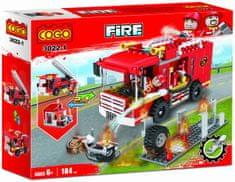 Cogo stavebnice Hasiči - hasičská stříkačka - zásah u požáru 2v1 typ LEGO 184 dílů