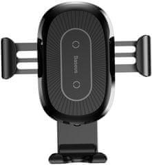 BASEUS Heukji bezdrátová nabíječka/držák telefonu s ohebným ramenem, černá, WXZT-01