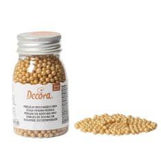 Decora Cukrové zdobení perličky 4mm zlaté 100g
