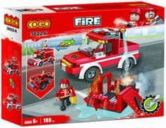 Cogo stavebnice Hasiči - hasičská stříkačka - zásah u požáru 2v1 typ LEGO 186 dílů