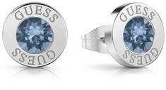 Guess Náušnice pecky s modrým krystalem UBE78091