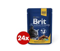 Brit Pémium Cat macskaeledel csirkével és pulykával 24 x 100 g