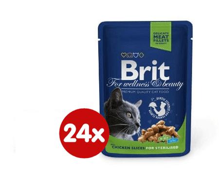 Brit vrečke Premium Cat za sterilizirane mačke, piščanec v omaki, 24 x 100g