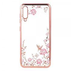 Maska za Samsung Galaxy Note 10 Plus, silikonska, sa cvijećem, ružičasta