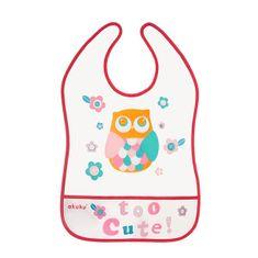 AKUKU Detský podbradník s vreckom Akuku Owl Červená
