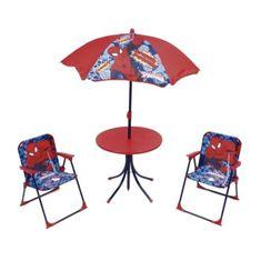 MARVEL COMICS dětský zahradní set, křesílka + stůl + slunečník Spiderman