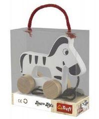 Trefl Zebra na kolečkách a s provázkem dřevěná Wooden Toys v krabici 15x16x6cm 12m+