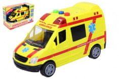 Wiky Auto ambulance záchranáři plast 14,5cm na baterie se světlem a zvukem v krabici 18,5x12,5x9cm