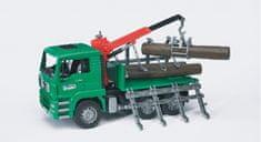 BRUDER Lesnícke autá - MAN TGA Timber kamión s nakl. ramenom a 3 kmeňmi
