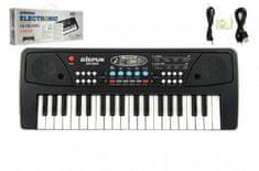 Teddies Piánko/Klávesy 37 kláves, napájení na USB + připojení MP3 plast 40cm v krabici