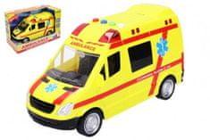 Wiky Auto ambulance záchranáři plast 21cm na baterie se světlem a zvukem v krabici 25x17x12cm