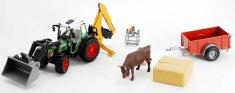 BRUDER 1041 Traktor Fendt s čelním nakladačem s bagrem, vozem a krávou