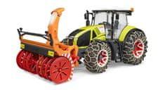 BRUDER Farm - Claas Axion traktor so snehovými reťazami a radlicou