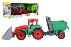 LENA Auto Truxx traktor nakladač s přívěsem s figurkou v krabici 52x19x16cm 24m+