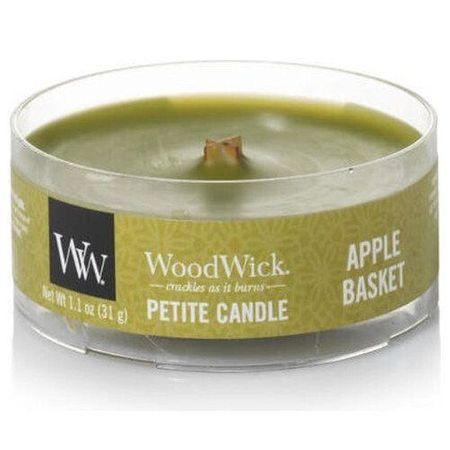 Woodwick Aromatična majhna sveča z lesenim steljem Apple Basket 31 g