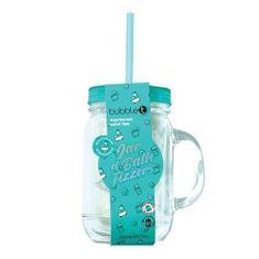 Bubble T Cosmetics Üveg szalmával, tele pezsgőfürdő-bombákkal - (Mason Jar-Moroccan Mint Tea) 10 x 20 g