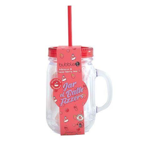 Bubble T Cosmetics Szklanka ze słomką pełną musujących bomb do kąpieli - Hibiskus (Mason Jar-Hibiscus) 10 x 20 g