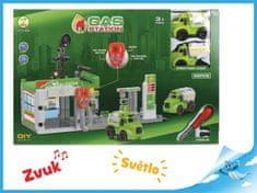 Mikro Trading Benzinová stanice 51,5x21x33cm s auty 2ks na baterie se světlem a zvukem s doplňky