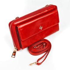 MILANO DESIGN Praktická dámská peněženka na popruhu, červená