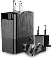 BASEUS podróżny adapter sieciowy Duke (EU + UK + US) 3x USB (czarny), CCALL-GJ01
