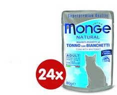 Monge mokra hrana za mačke Natural, tuna s haringom u želeu, 24 x 80 g