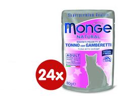 Monge mokra hrana za mačke Natural, tuna s škampima u želeu, 24 x 80 g