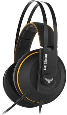 Słuchawki przewodowe Asus TUF Gaming H7 Core miękkie nauszniki chłodzące stalowa konstrukcja wygodne mały nacisk