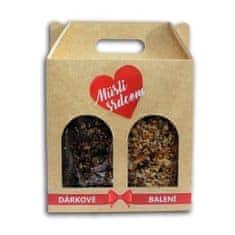 Topnatur Darčekové balenie Müsli srdcom 2 x 200 g (Paleo a Belgická čokoláda & brusnice)