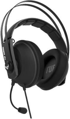 Asus TUF Gaming H7 Core, kabelová sluchátka, ovládání hlasitosti, dva mikrofony