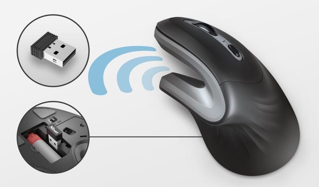 Mysz pionowa Trust Verro Ergonomic Wireless 23507 zasięg 10 m