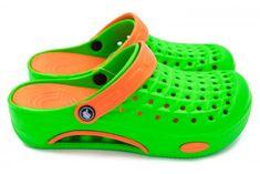 Dámske clogsy FLAMEshoes B-2006 zelená a oranžová