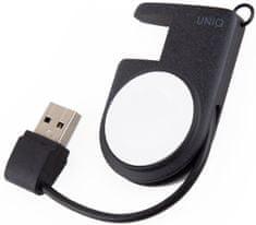 UNIQ Přenosná magnetická bezdrátová nabíječka pro Apple Watch s vestavěným USB (UNIQ-COVE-BLACK)