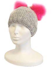 Capu Dětská zimní čepice CAPU D360 šedá/růžová