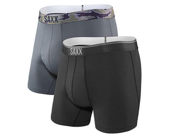 SAXX Sada pánskych boxeriek QUEST BOXER BRIEF FLY 2PK black / dark charcoal (Veľkosť L)