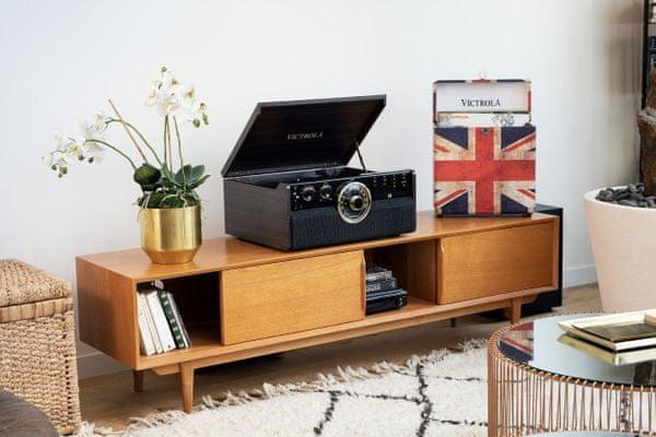 kufříkový retro gramofon Victrola VTA-270 řemínkový pohon 3 rychlosti otáček 33 45 78  RCA výstup sluchátkový výstup bluetooth