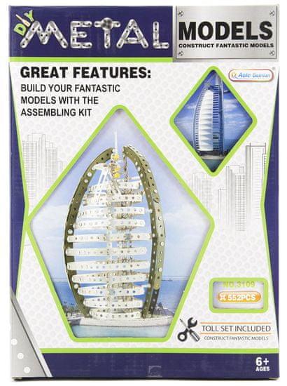 Teddies Stavebnice kov Burj Al Arab Dubai 552 dílků v krabici 26x36x6cm
