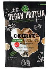 Nature's finest Vegan Protein puding s stevio, 52 % beljakovinski, čokoladen, 450 g