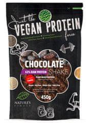 Nature's finest Bio Vegan Protein Shake mešanica, 63 % beljakovinska, s stevio, čokoladna, 450 g