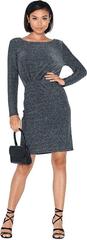VILA Damska sukienka VILOUIANA L / S DRESS Black W. Silver Fiber