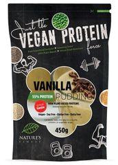 Nature's finest Bio Vegan Protein beljakovinski puding s stevio, 55 %, vanilija, 450 g