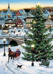 Cobble Hill Puzzle Vánoční strom na vesnici 1000 dílků