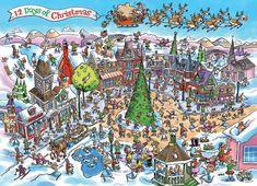 Cobble Hill Puzzle Doodle Town: 12 dnů Vánoc 1000 dílků